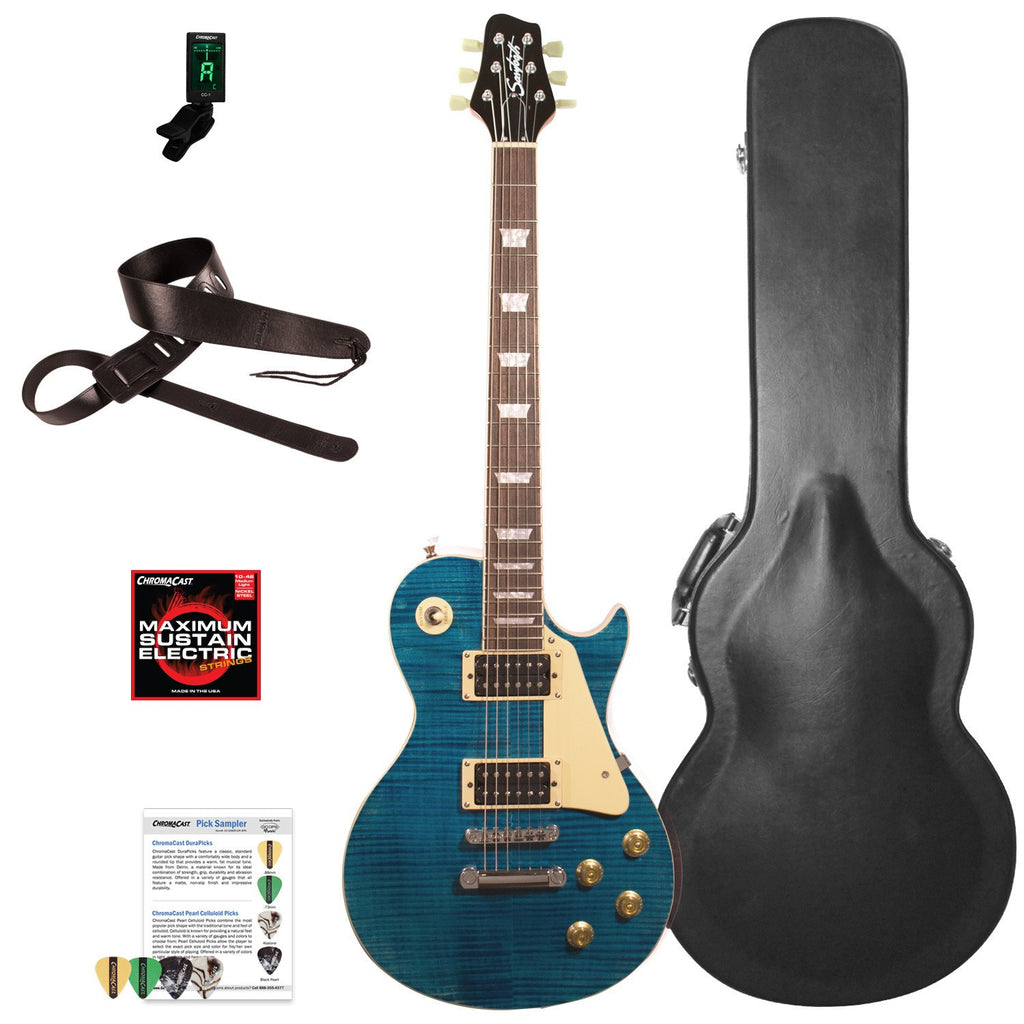 Sawtooth Heritage Series Right-Handed Flame Maple Top Electric Guitar with ChromaCast Pro Series LP Body Style Hard Case & Accessories, Cali Blue Flame