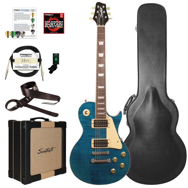 Sawtooth Heritage Series Flame Maple Top Electric Guitar with ChromaCast Pro Series LP Body Style Hard Case, 25 Watt Amp, & Accessories, Cali Blue Flame