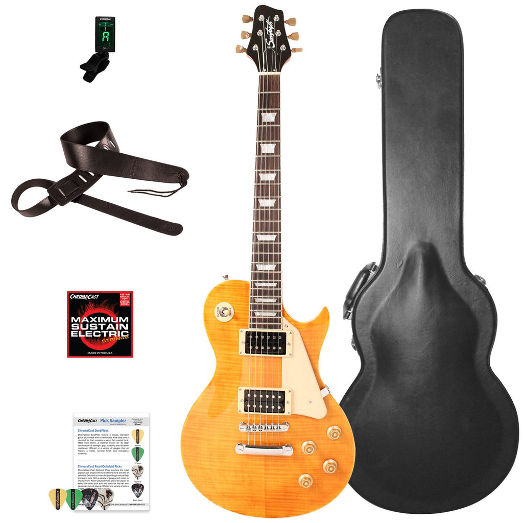 Sawtooth Heritage Series Right-Handed Flame Maple Top Electric Guitar with ChromaCast Pro Series LP Body Style Hard Case & Accessories, Tuscan Flame