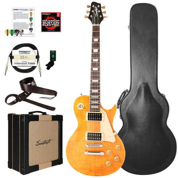 Sawtooth Heritage Series Flame Maple Top Electric Guitar with ChromaCast Pro Series LP Body Style Hard Case, 25 Watt Amp, & Accessories, Tuscan Flame