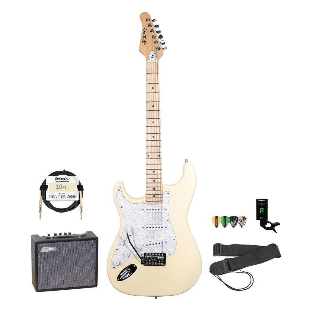 Sawtooth Left-Handed ES Series Citron Vanilla Cream Electric Guitar w/ Pearl Pickguard - Includes: Accessories & 10-Watt Amp