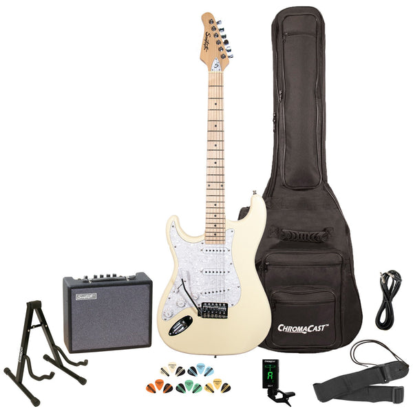 Sawtooth Left-Handed ES Series Electric Guitar with Gig Bag, 10 Watt Amp, and Accessories, Vintage Cream with Pearloid White Pickguard