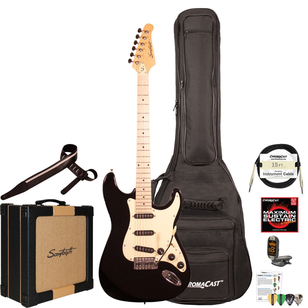 Sawtooth ES Series ST Style Electric Guitar Player's Pack, Black with Vanilla Cream Pickguard