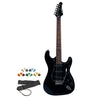 Sawtooth Black ES Series Electric Guitar w/ Black Pickguard - Includes: Strap, Picks & Online Lesson