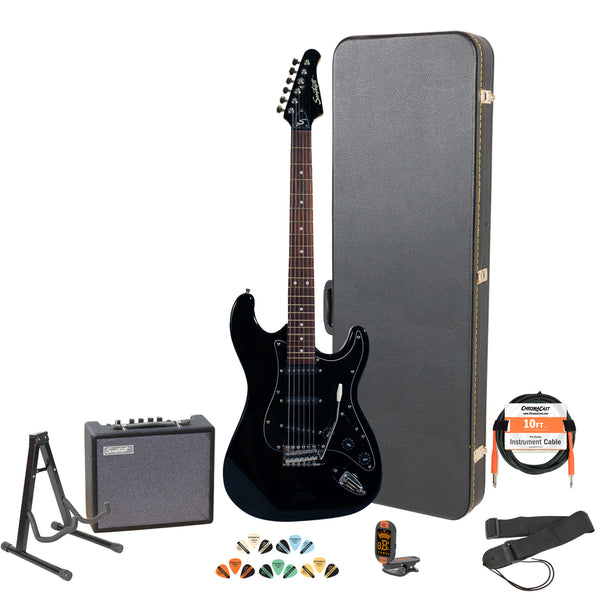 Sawtooth Black ES Series Electric Guitar w/ Black Pickguard - Includes Accessories, Sawtooth Amp, Hard Case and Online Lesson