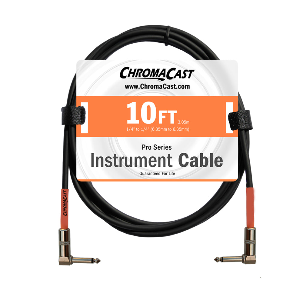ChromaCast Pro Series Instrument Cable, Angle - Angle, Sunset Orange, 10 foot