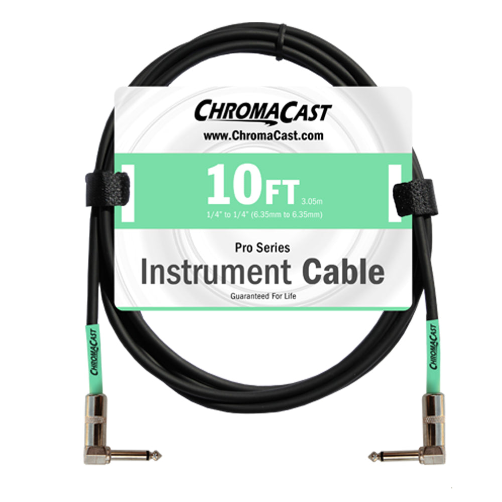 ChromaCast Pro Series Instrument Cable, Angle - Angle, Surf Green, 10 foot