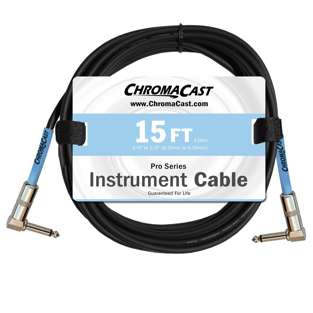ChromaCast Pro Series Instrument Cable, Angle - Angle, Daphne Blue, 15 foot