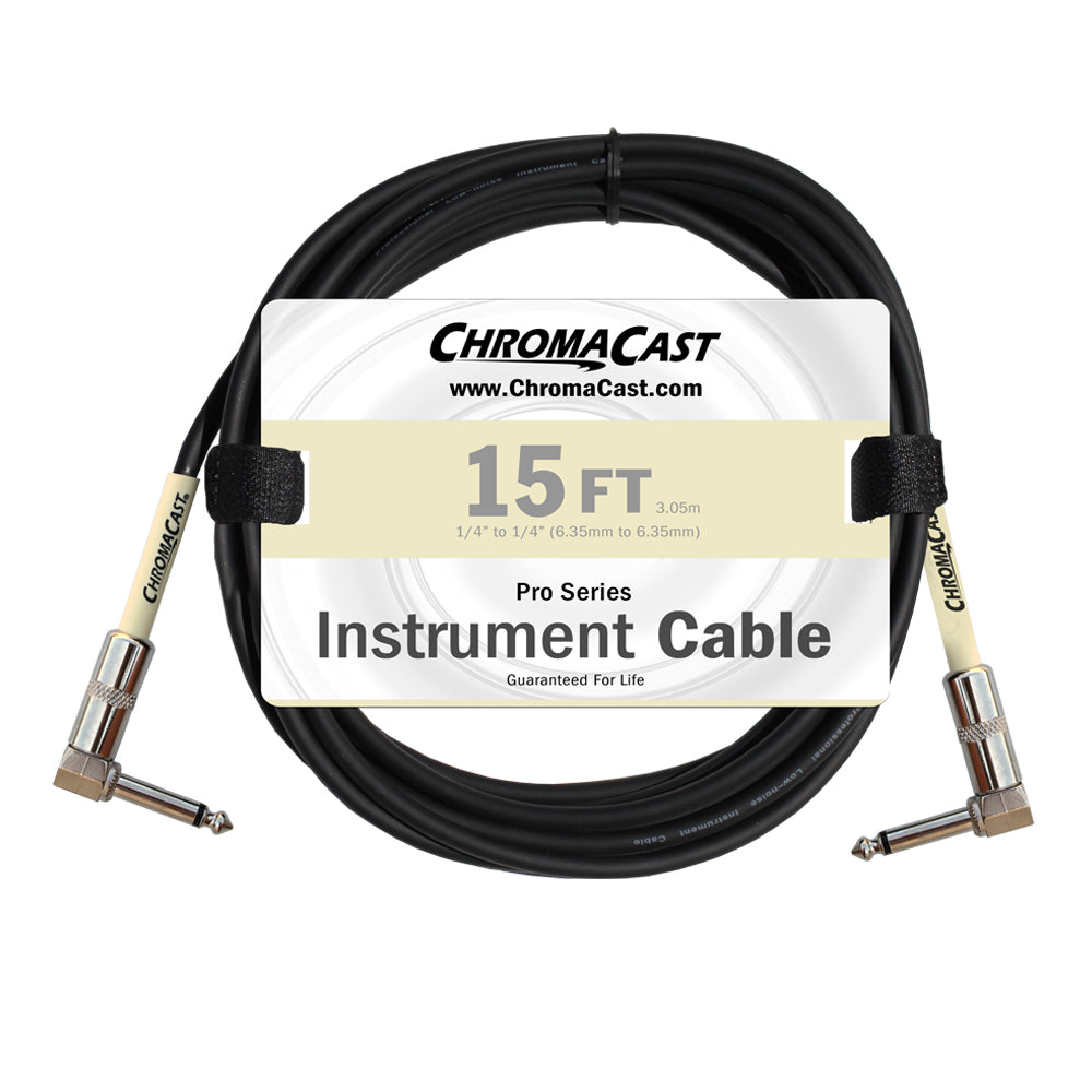 ChromaCast Pro Series Instrument Cable, Angle - Angle, Vanilla Cream, 15 foot