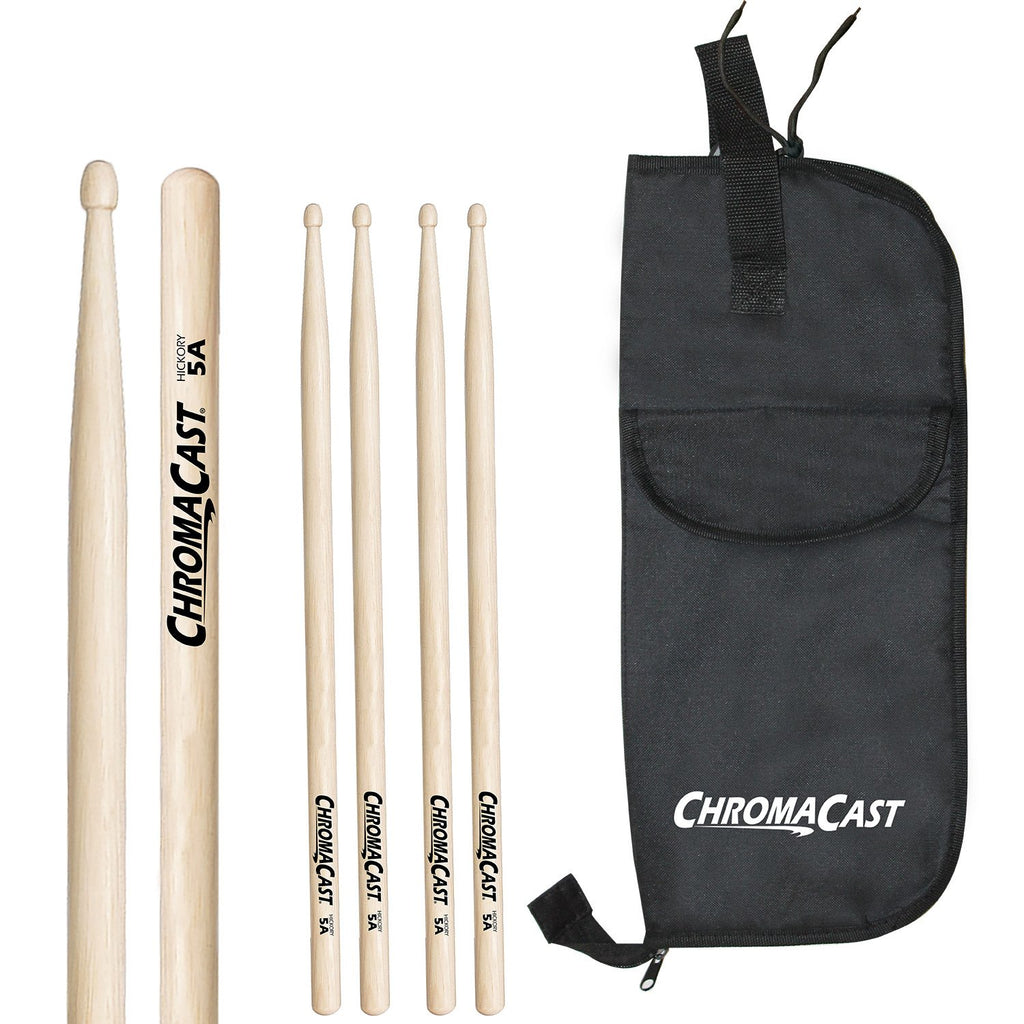 ChromaCast 5A USA Hickory Drumsticks, 3 Pairs with Drumstick bag