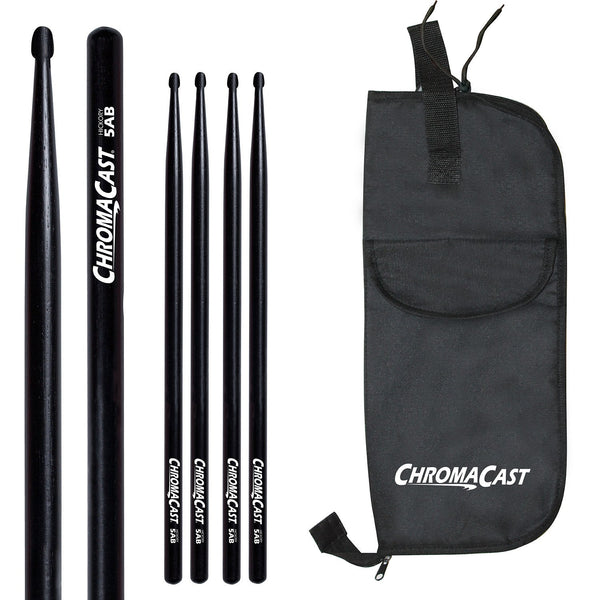 ChromaCast 5A USA Black Hickory Drumsticks, 3 Pairs with Drumstick bag