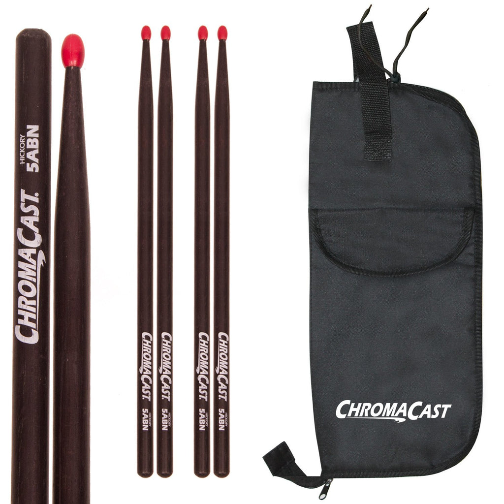 ChromaCast 5A USA Black Hickory Nylon Tipped Drumsticks, 3 Pairs with Drumstick Bag