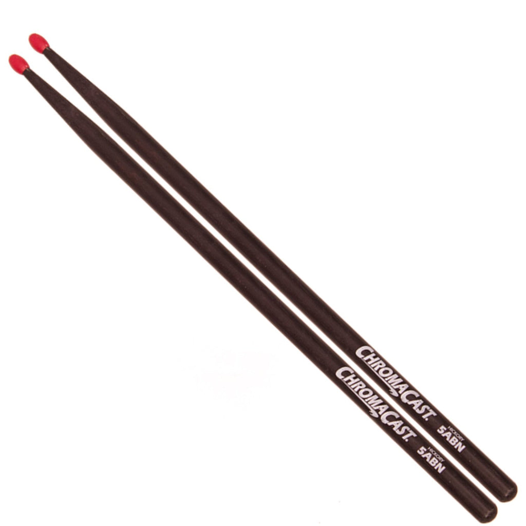 ChromaCast 5ABN USA Hickory Nylon Tipped Drumsticks, Black