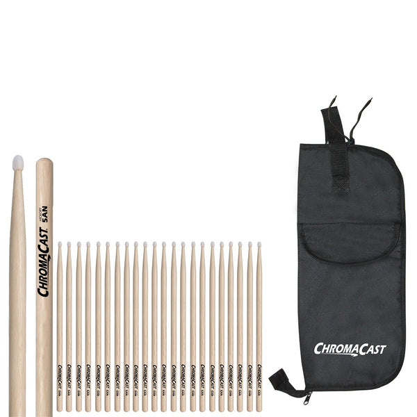 ChromaCast 5AN USA Hickory Nylon Tipped Drumsticks, 12 Pairs with Drumstick Bag
