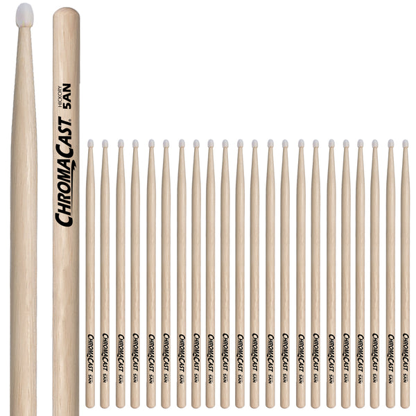 ChromaCast 5A USA Hickory Nylon Tipped Drumsticks, 12 Pairs