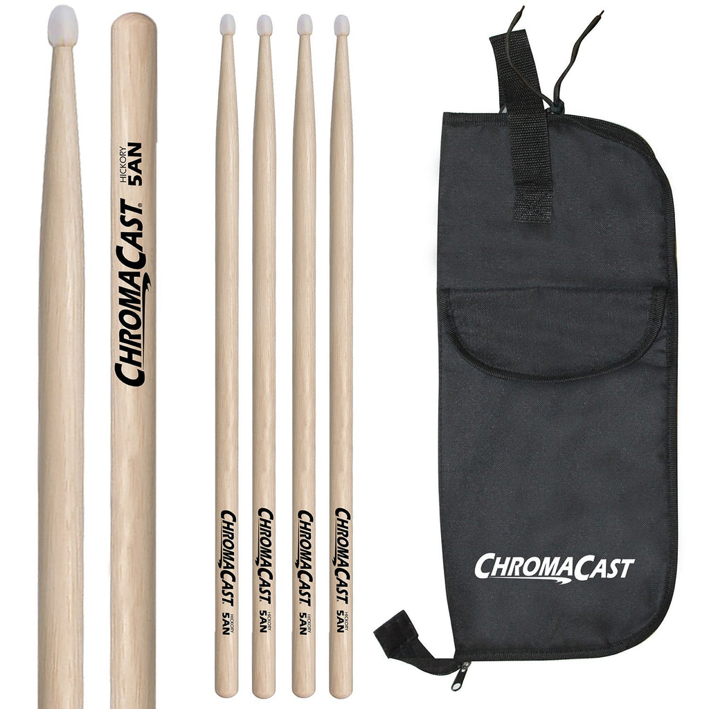 ChromaCast 5A USA Hickory Nylon Tipped Drumsticks, Natural, 3 Pairs with Drumstick Bag