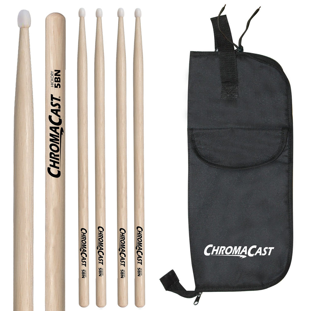 ChromaCast 5B USA Natural Hickory Nylon Tipped Drumsticks, 3 Pairs with Drumstick Bag