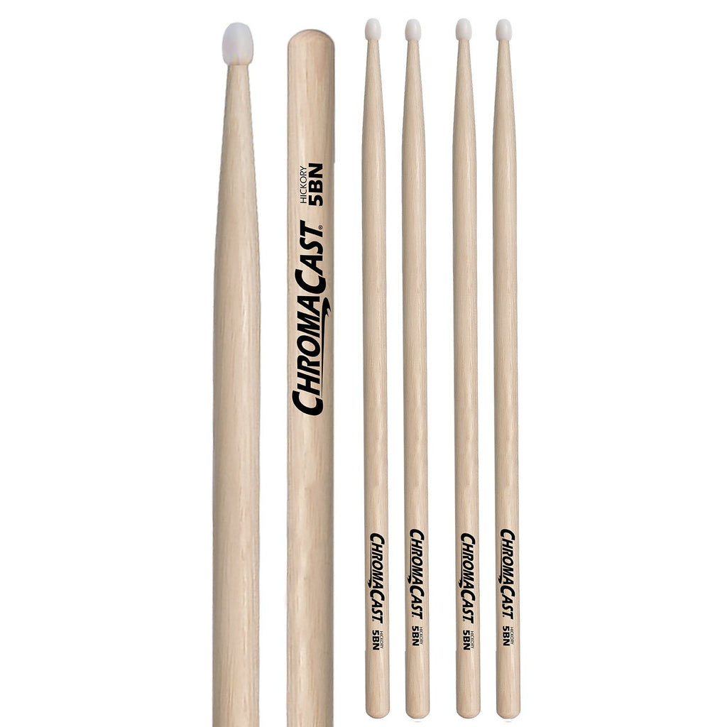 ChromaCast 5B USA Natural Hickory Nylon Tipped Drumsticks, 3 Pairs
