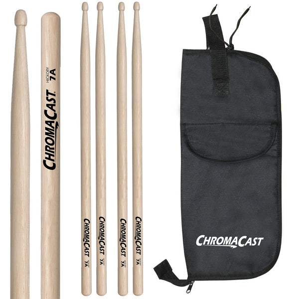 ChromaCast 7A USA Natural Hickory Drumsticks, 3 Pairs with Drumstick Bag