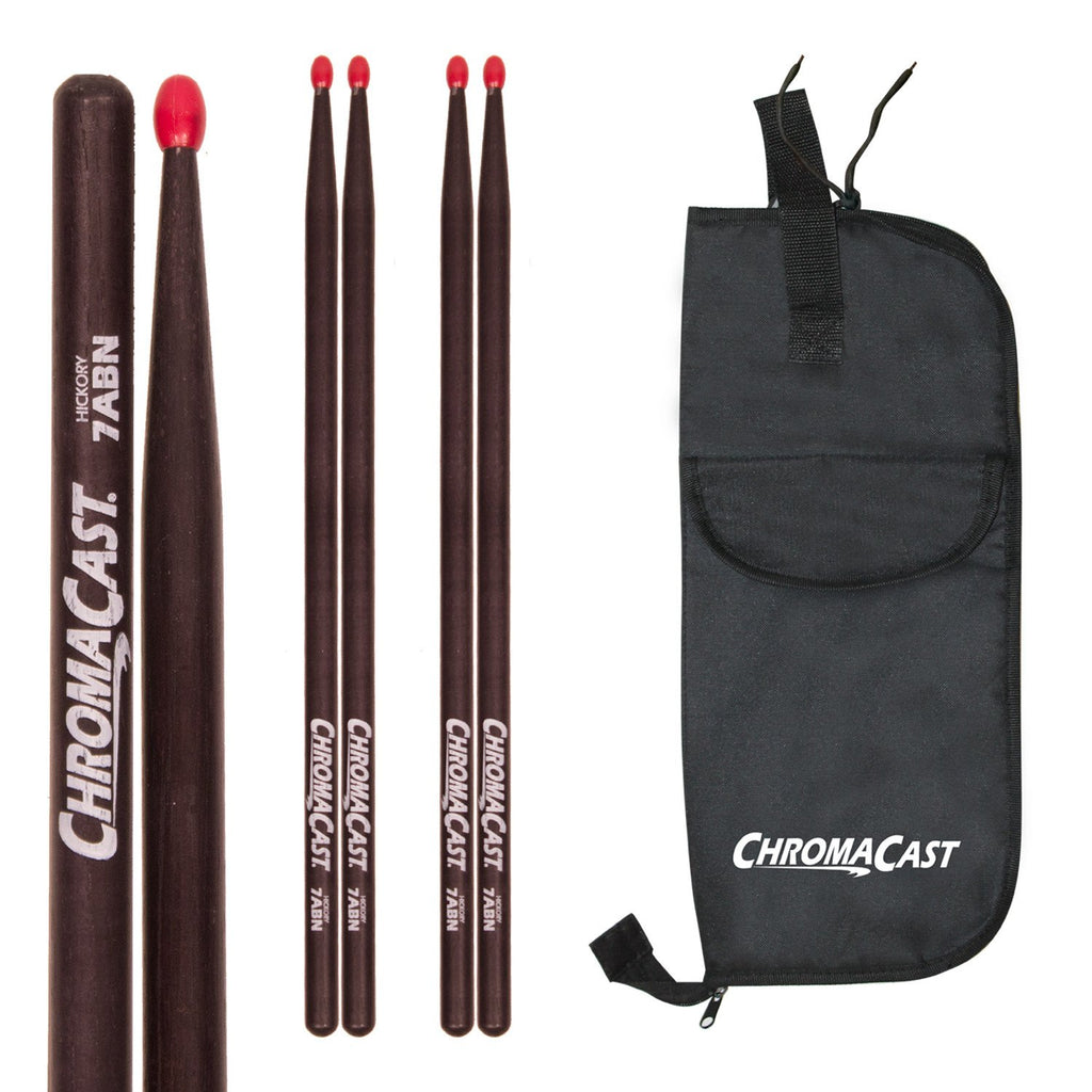 ChromaCast 7A USA Black Hickory Nylon Tipped Drumsticks, 3 Pairs with Drumstick Bag