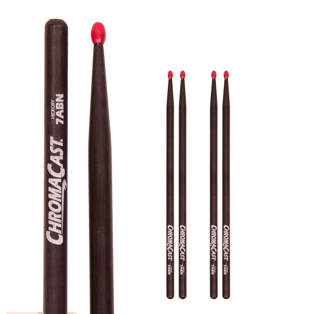 ChromaCast 7A USA Black Hickory Nylon Tipped Drumsticks, 3 Pairs