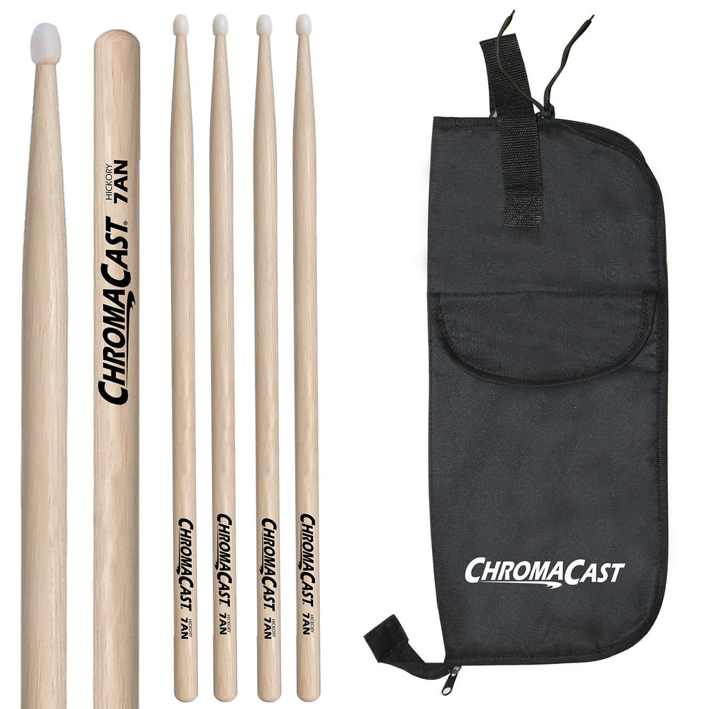 ChromaCast 7A USA Natural Hickory Nylon Tipped Drumsticks, 3 Pairs with Drumstick Bag