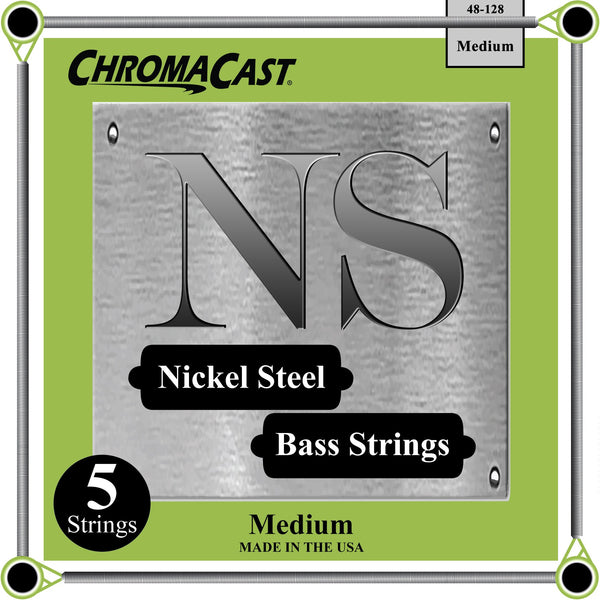 ChromaCast Nickel Steel 5-String Bass Guitar Strings, 48-128, Medium