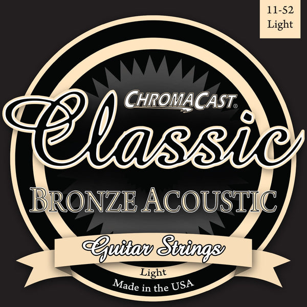 ChromaCast CC-GS-CB-L Classic Bronze Light Gauge Acoustic Guitar Strings, .011-.052, Pack of 2