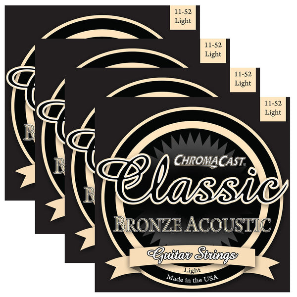 ChromaCast CC-GS-CB-L Classic Bronze Light Gauge Acoustic Guitar Strings, .011-.052, Pack of 4