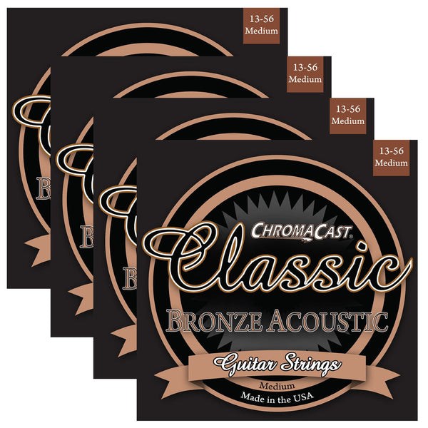 ChromaCast CC-GS-CB-M Classic Bronze Medium Acoustic Guitar Strings, .013-.056, Pack of 4