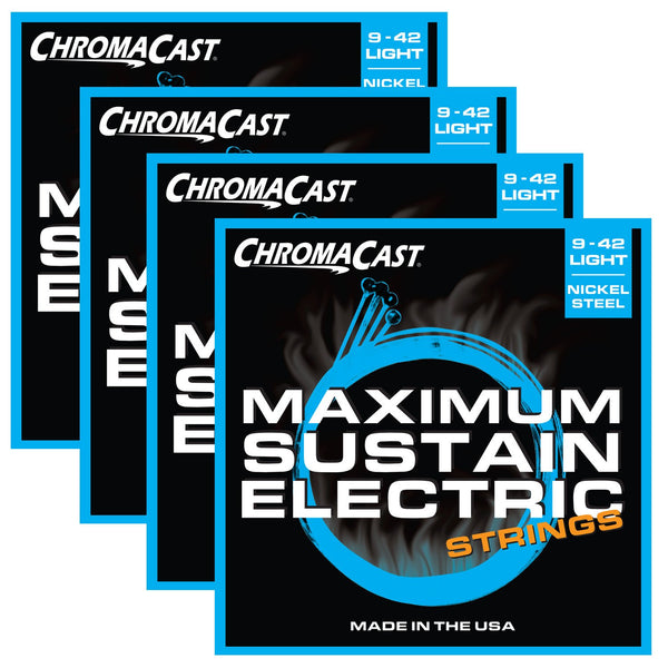 ChromaCast CC-GS-MS-L Maximum Sustain Light Gauge Electric Guitar Strings, .009-.042, Pack of 4