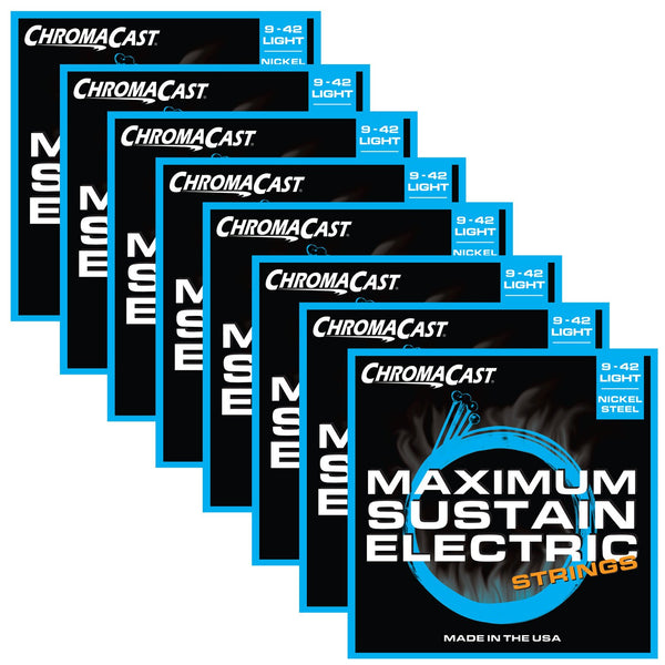 ChromaCast CC-GS-MS-L Maximum Sustain Light Gauge Electric Guitar Strings, .009-.042, Pack of 8
