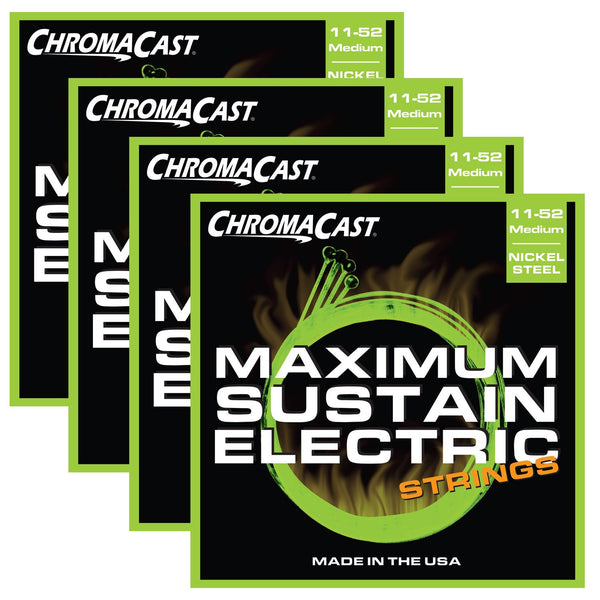 ChromaCast CC-GS-MS-M Maximum Sustain Medium Electric Guitar Strings, .011-.052, Pack of 4