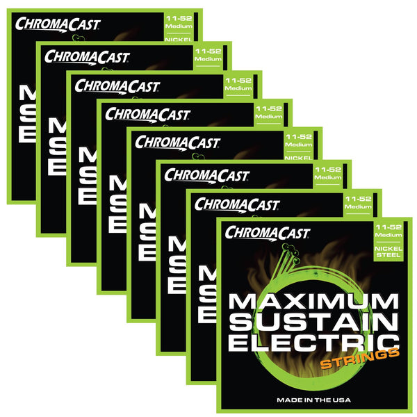 ChromaCast CC-GS-MS-M Maximum Sustain Medium Electric Guitar Strings, .011-.052, Pack of 8
