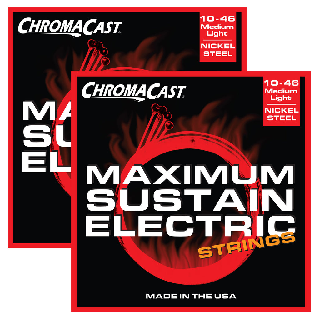 ChromaCast CC-GS-MS-ML Maximum Sustain Medium-Light Electric Guitar Strings, .010-.046, 2 Pack