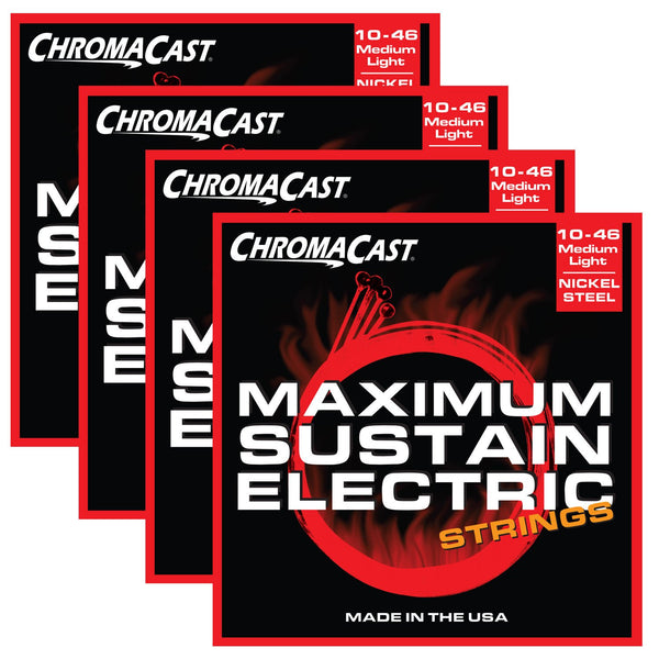 ChromaCast CC-GS-MS-ML Maximum Sustain Medium-Light Electric Guitar Strings, .010-.046, Pack of 4