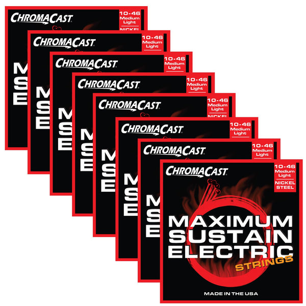 ChromaCast CC-GS-MS-ML Maximum Sustain Medium-Light Electric Guitar Strings, .010-.046, Pack of 8