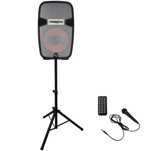 ChromaCast Portable PA  2 Channel 2 Way Rechargeable Active 120 watt Sound System w/Bluetooth, Speaker Lights, Microphone & Stand