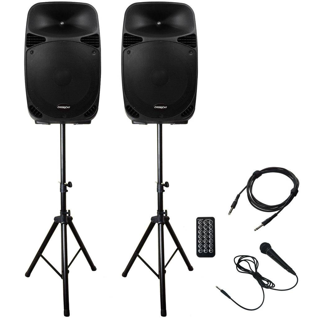 ChromaCast Portable PA 2 Channel 2 Way 150 watt Sound System w/Bluetooth, USB, & SD card reader - Includes: Microphone, & Stands