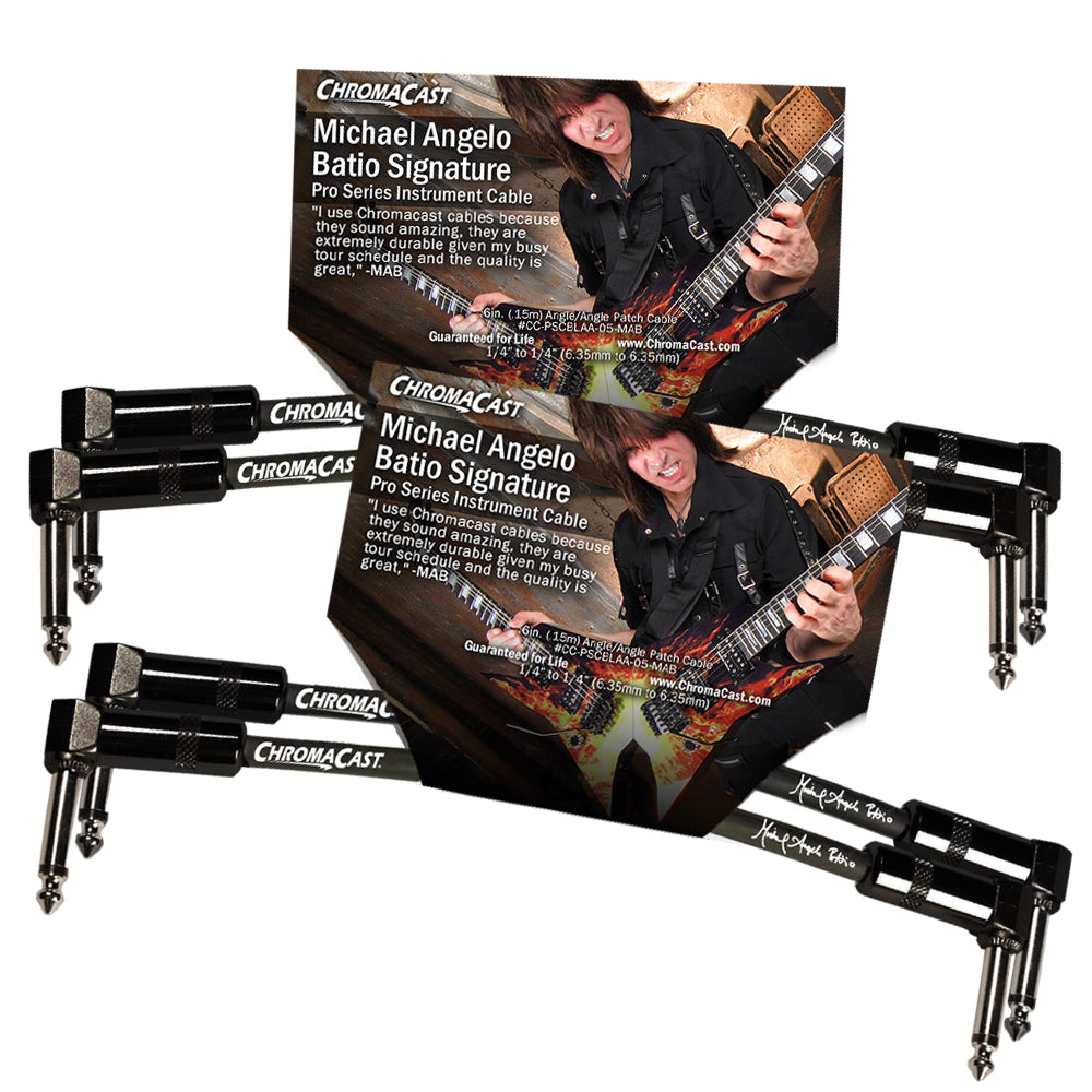 "ChromaCast Pro Series 6"" Michael Angelo Batio Signature Angle-Angle Instrument Patch Cable, 2 Pack"
