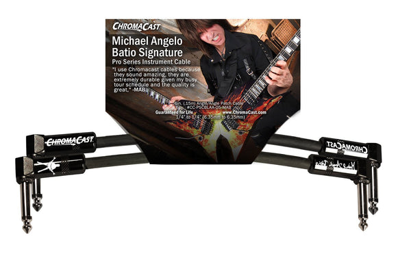 "ChromaCast Pro Series 6"" Michael Angelo Batio Signature Angle-Angle Instrument Patch Cable, Black"