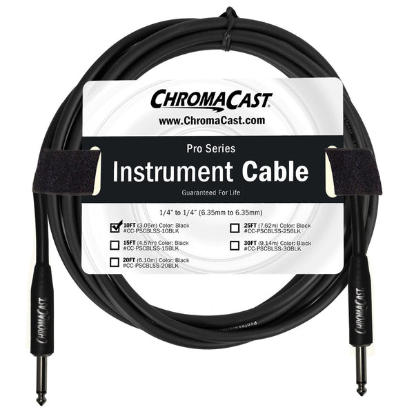 "ChromaCast Pro Series Instrument Cable 10 Feet, Black, 1/4"" Straight to 1/4"" Straight Ends"