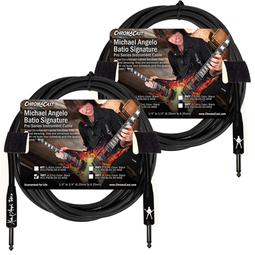 ChromaCast 15' Pro Series Michael Angelo Batio Signature Straight-Straight Instrument Cable, Black 2-Pack