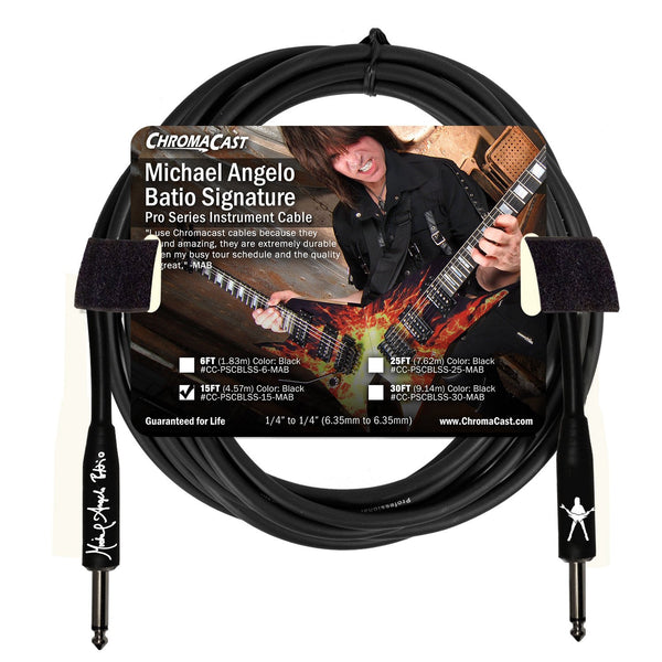ChromaCast Pro Series 15' Michael Angelo Batio Straight-Straight Instrument Cable, Black