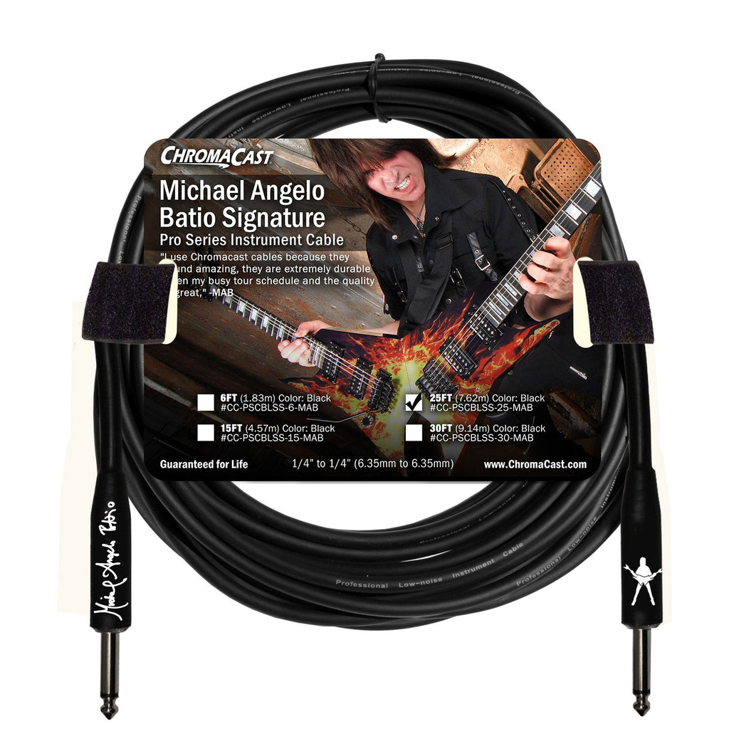 ChromaCast Pro Series 25' Michael Angelo Batio Straight-Straight Instrument Cable, Black