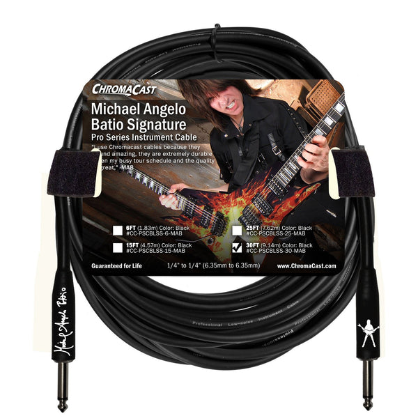 ChromaCast Pro Series 30' Michael Angelo Batio Straight-Straight Instrument Cable, Black
