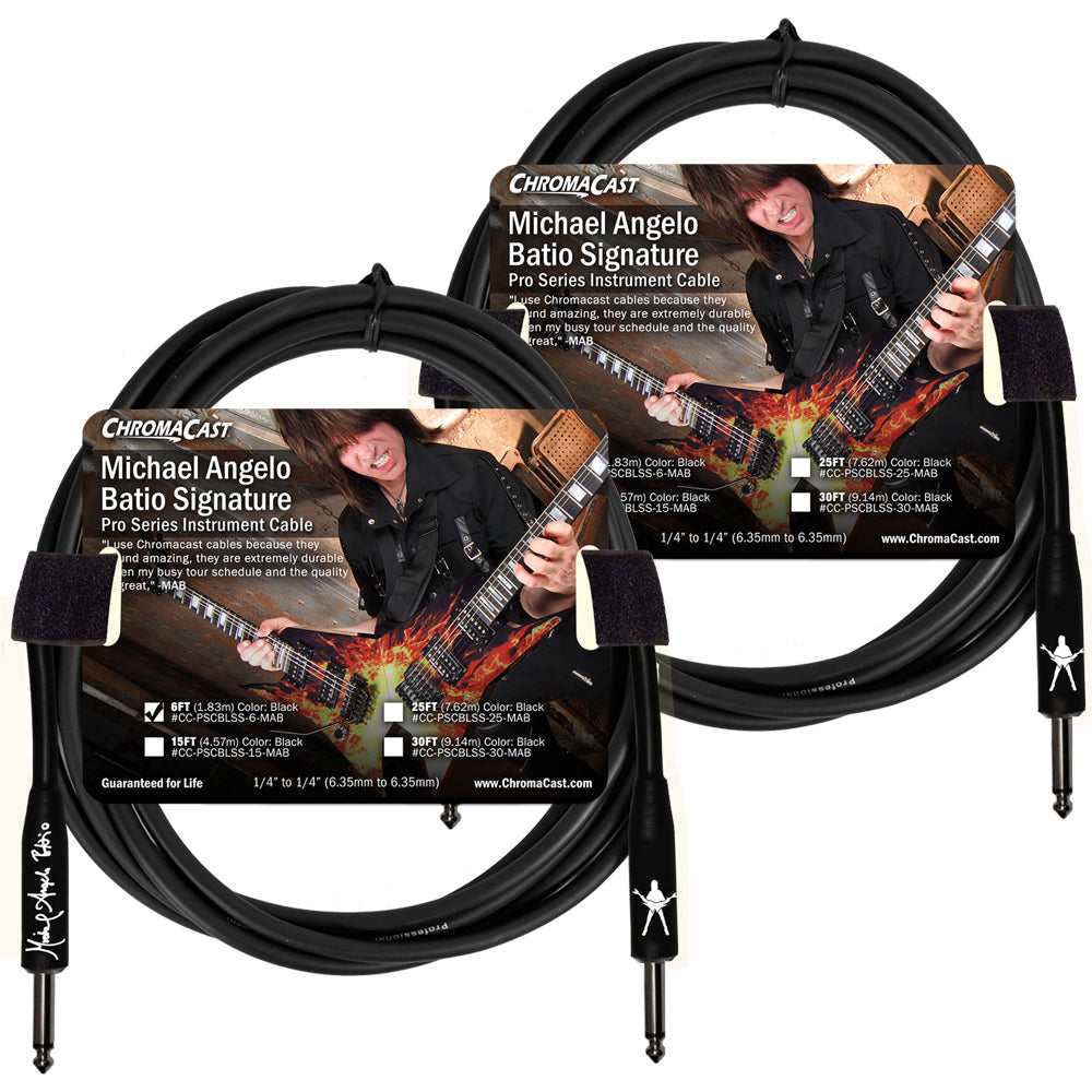 ChromaCast Pro Series 6' Michael Angelo Batio Straight-Straight Instrument Cable, 2 Pack
