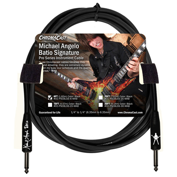 ChromaCast Pro Series 6' Michael Angelo Batio Straight-Straight Instrument Cable, Black