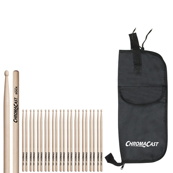 ChromaCast ROCK USA Hickory Drumsticks, 12 Pairs with Drumstick Bag