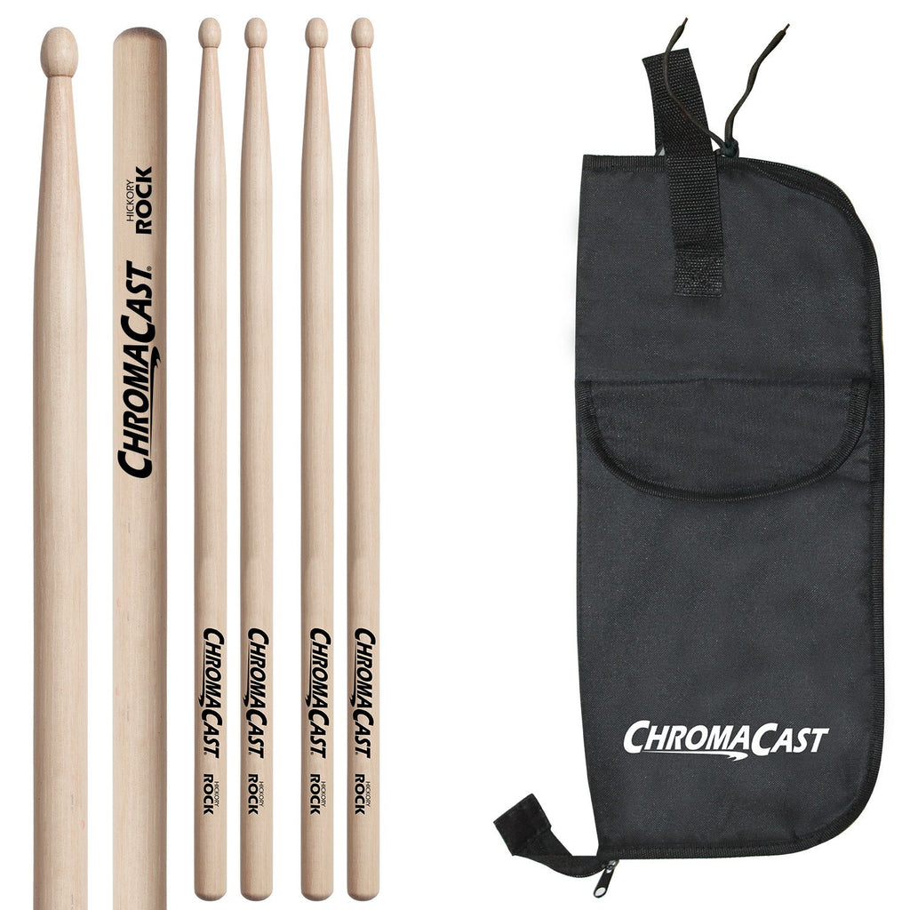 ChromaCast ROCK USA Natural Hickory Drumsticks, 3 Pairs with Drumstick Bag